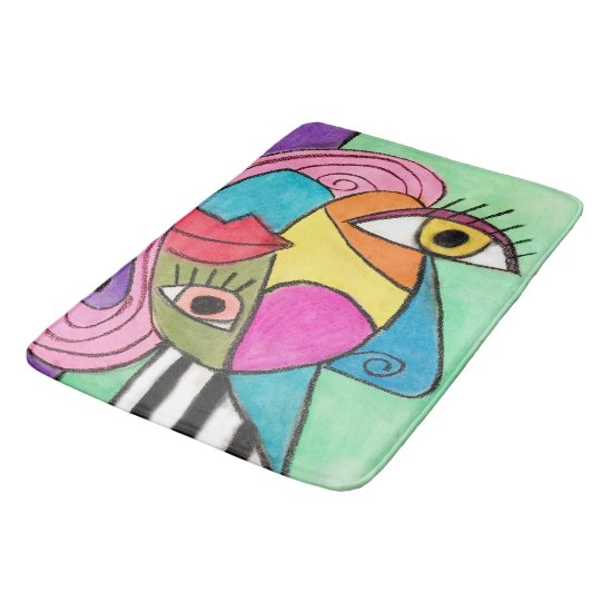 Vibrant Abstract Art Cubism Bold Lips Quirky Eyes Bathroom Mat