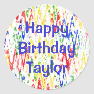 Vibrant Abstract Chevrons Birthday Party Classic Round Sticker