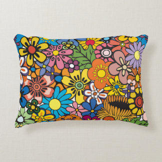 Vibrant Abstract Floral Pattern Accent Pillow