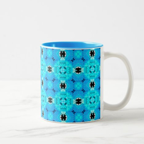 Vibrant Abstract Modern Aqua Blue Lattice Quilt Two-Tone Coffee Mug