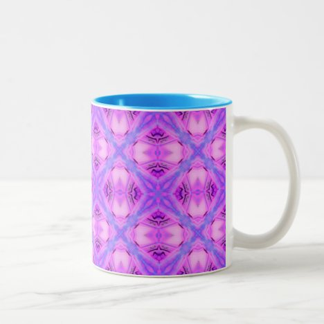 Vibrant Abstract Modern Violet Lavender Lattice Two-Tone Coffee Mug