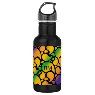 Vibrant abstract paisley design water bottle