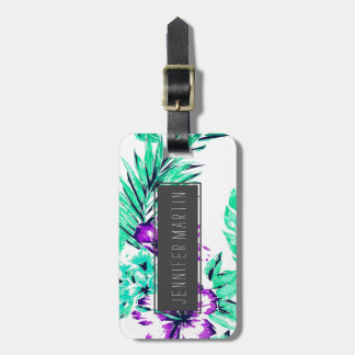 Vibrant Abstract Purple and Teal Tropical Flowers Bag Tag