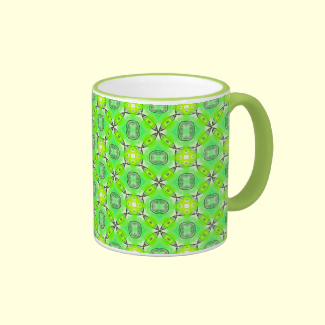 Vibrant Abstract Tropical Lime Foliage Lattice Mug
