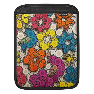 Vibrant and Bold Flowers with Circles Sleeves For iPads