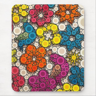 Vibrant and Bold Flowers with Circles Mouse Pad