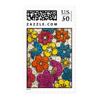 Vibrant and Bold Flowers with Circles Postage