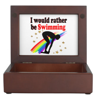 VIBRANT AND COLOR I WOULD RATHER BE SWIMMING KEEPSAKE BOX