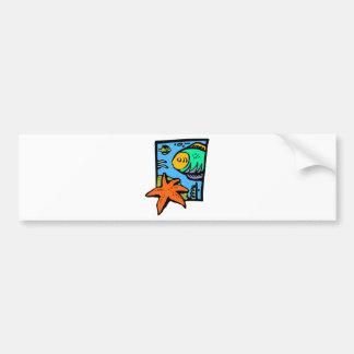 Vibrant and Colorful Aquatic Art Design with Fish Bumper Sticker
