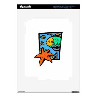 Vibrant and Colorful Aquatic Art Design with Fish iPad 3 Decals