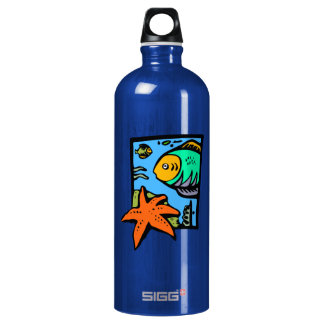 Vibrant and Colorful Aquatic Art Design with Fish Water Bottle