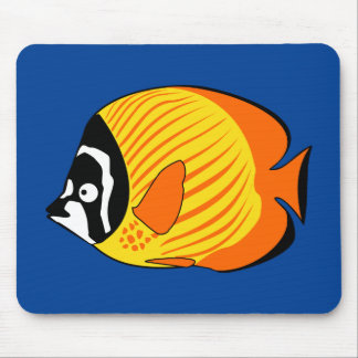 Vibrant and Colorful Cartoon Butterfly Fish Mouse Pads