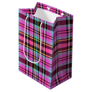 Vibrant and Colorful Plaid Medium Gift Bag