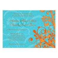 Vibrant Aqua and Orange Floral Wedding Invitation