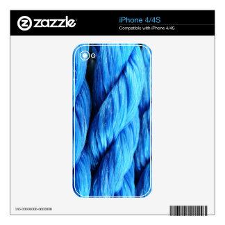 Vibrant Aqua Blue Boat Rope - Nautical Print Skins For iPhone 4S