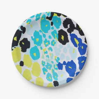 Vibrant Aqua Blue Lime Leopard Print Paper Plate