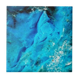 Vibrant Aqua Blue Mineral Stone Ceramic Tile