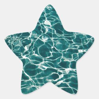 Vibrant Aqua Blue Ocean Water Background Star Sticker