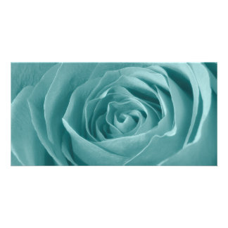 Vibrant Aqua Rose, Floral Nature Photograph Card