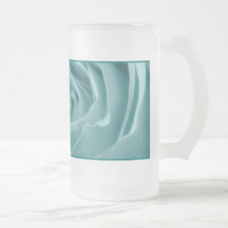 Vibrant Aqua Rose, Floral Nature Photograph Frosted Glass Beer Mug