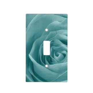 Vibrant Aqua Rose, Floral Nature Photograph Light Switch Cover