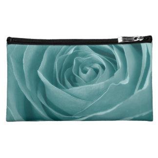 Vibrant Aqua Rose, Floral Nature Photograph Makeup Bag