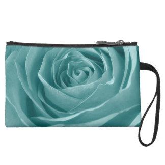 Vibrant Aqua Rose, Floral Nature Photograph Suede Wristlet Wallet
