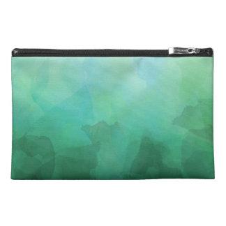 Vibrant Aquamarine Watercolor Background Travel Accessory Bags