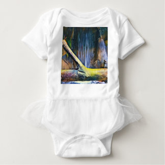 Vibrant Artistic Driftwood by Waterfall Baby Bodysuit