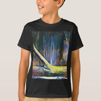 Vibrant Artistic Driftwood by Waterfall T-Shirt