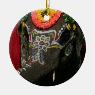 Vibrant Asian Elephant Photo Gift Ceramic Ornament