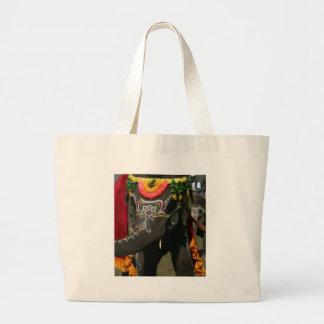 Vibrant Asian Elephant Photo Gift Large Tote Bag