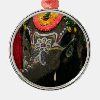 Vibrant Asian Elephant Photo Gift Metal Ornament