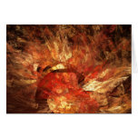 Vibrant Autumn Abstract Digital Fractal Greeting Card