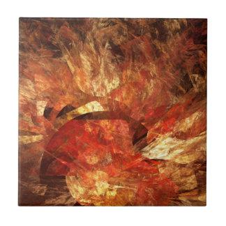 Vibrant Autumn Abstract Digital Fractal Ceramic Tiles