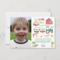 Vibrant Barnyard Farm Animals Birthday Party Photo Thank You Card