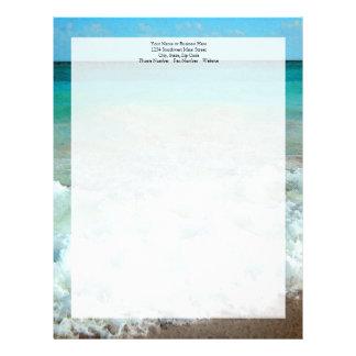 Vibrant Beach Watercolor Scene Custom Letterhead