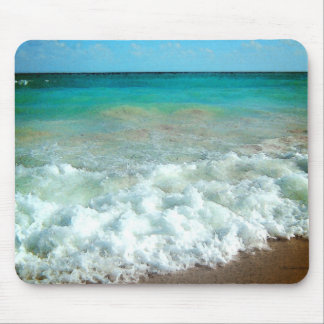 Vibrant Beach Watercolor Scene Mouse Pad