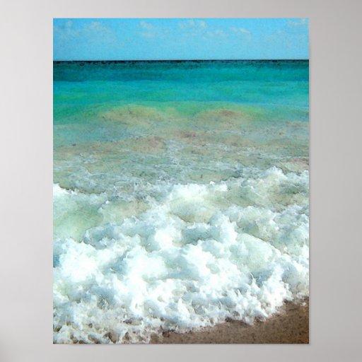 Vibrant Beach Watercolor Scene Poster