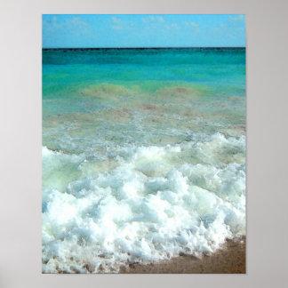 Vibrant Beach Watercolor Scene Print