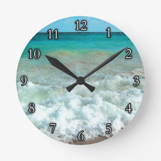 Vibrant Beach Watercolor Scene Round Clock