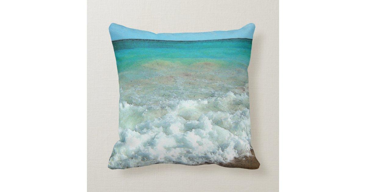 Vibrant Beach Watercolor Scene Throw Pillow Zazzle