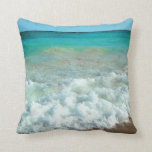 Vibrant Beach Watercolor Scene Throw Pillow