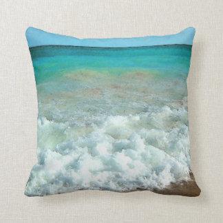 Vibrant Beach Watercolor Scene Throw Pillow