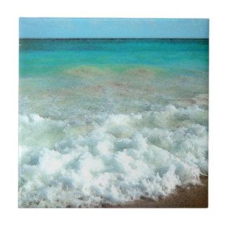 Vibrant Beach Watercolor Scene Tile