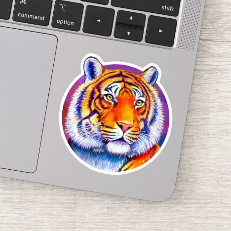 Vibrant Bengal Tiger Circle Vinyl Sticker