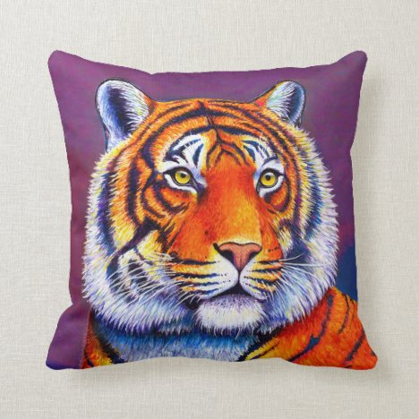 Vibrant Bengal Tiger Wild Feline Throw Pillow