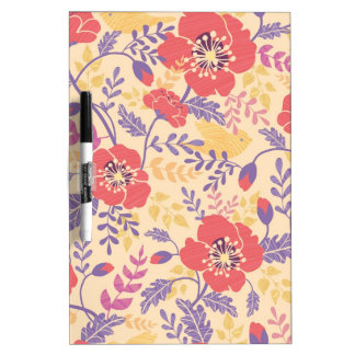 Vibrant birds and poppies pattern Dry-Erase whiteboards