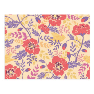 Vibrant birds and poppies pattern postcard