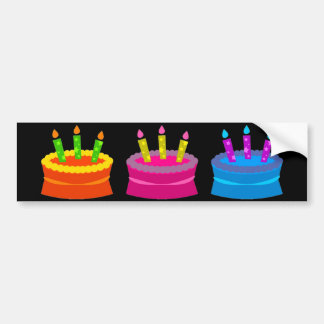 Vibrant Birthday Cakes Bumper Sticker